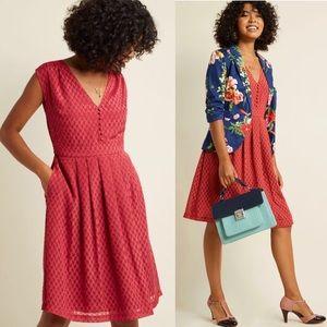 Modcloth Button Front Retro A Line Pocket Dress